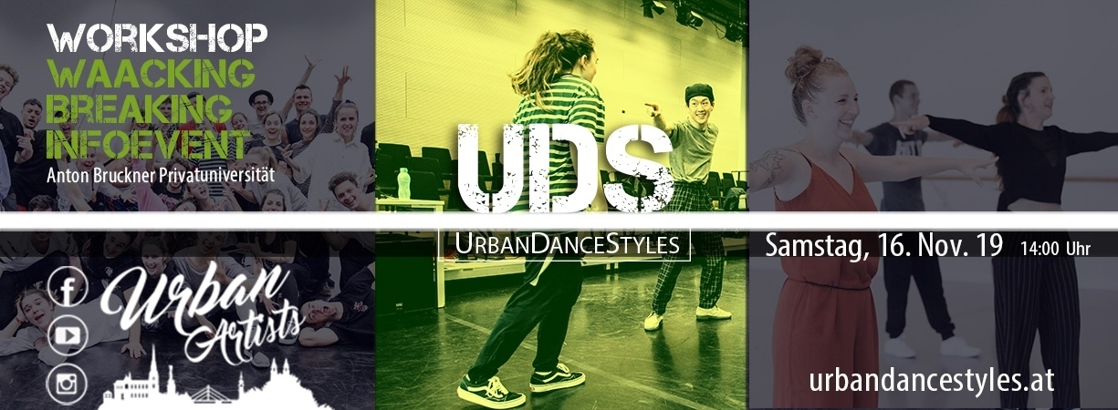 Urban Dance Styles – Workshop und Infoevent | 16. Nov 19 | Linz – Anton Bruckner Privatuniversität